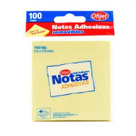 NOTAS ADHESIVAS 76X76 MM 100 HJ, COLOR AMARILLA