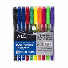 BOLIGRAFO SUPER GEL TRIANGULAR 10 UNIDADES