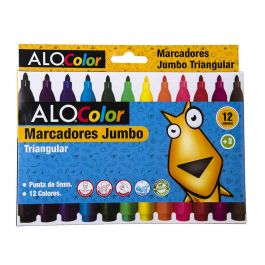 PLUMON ESCOLAR 12 COLORES TRIANGULAR JUMBO